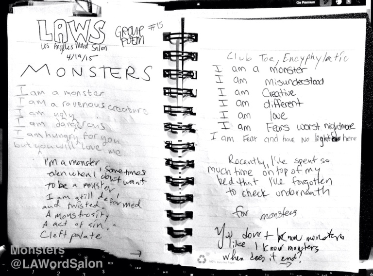 mosters group poem LAWordSalon