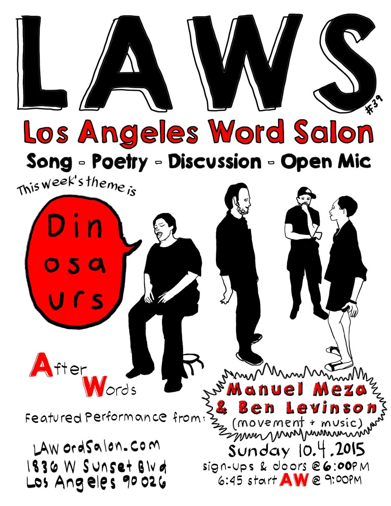 dinosaurs lawordsalon flyer