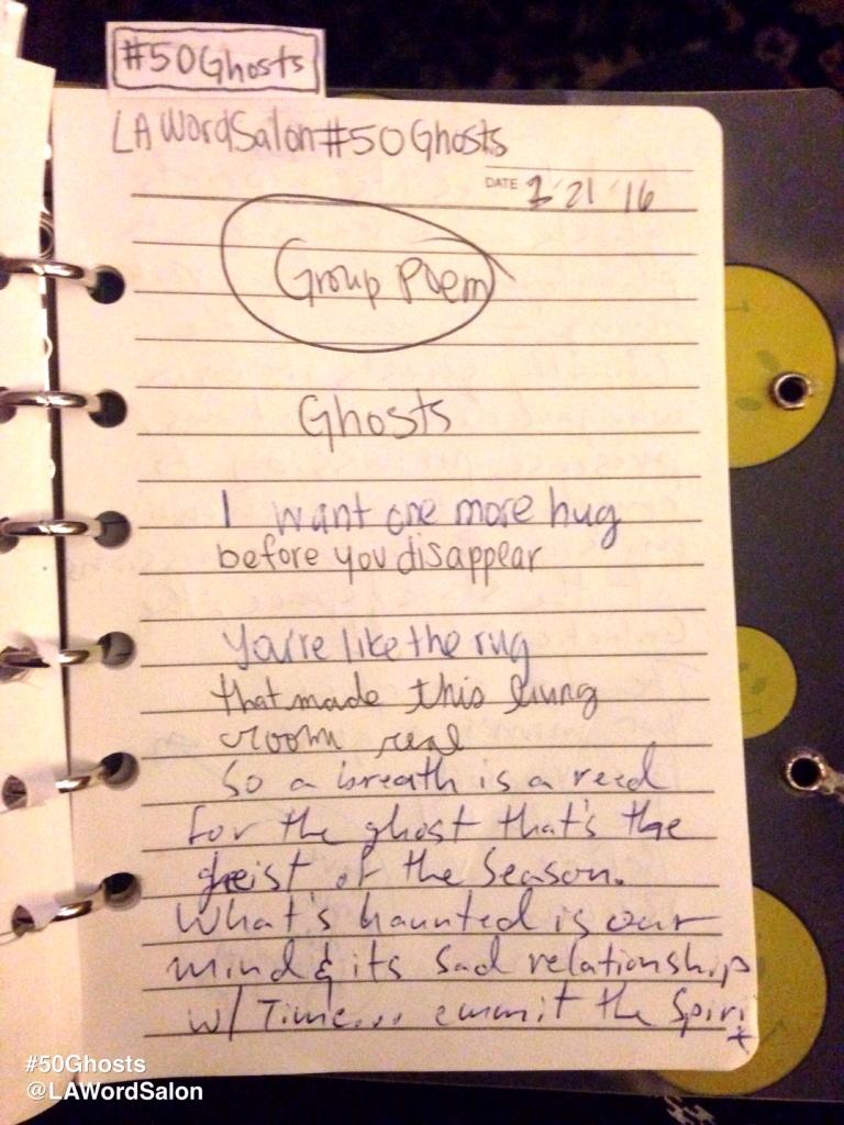 lawordsalon ghosts group poem